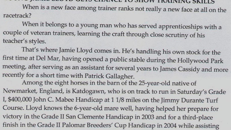 Young Jamie Lloyd gets chance to show training skills