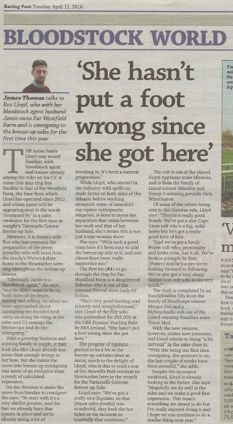 Racing post Article Roz